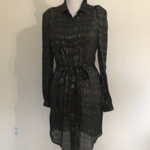 Rachel Roy shirt dress Xs brown metallic new